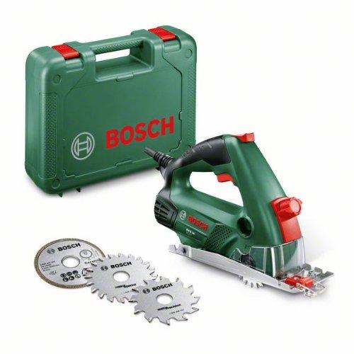 Bosch DIY Mini-Kreissäge PKS 16, Diamanttrennscheibe Ceramic, Kreissägeblatt Precision+Special, Staubsaugeradapter, Koffer (400 W, 16mm Schnitttiefenbereich bei 90°, KreissägeblattØ 65 mm)